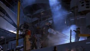 a nuclear bomb is set to be shuttled from the battleship. this is a scene from 'under siege'