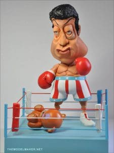 Custom 7 inch munny as Sylvester Stallone caricature from movie Rocky made for kidrobot mega contest.