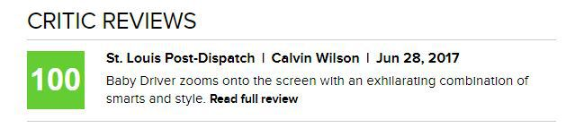 critic review of the movie 'Baby Driver' found on Metacritic.com