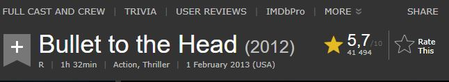 the rating of 'Bullet to the Head' on IMDB.COM