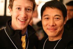 jet li and the founder of Facebook Mark Zuckerberg